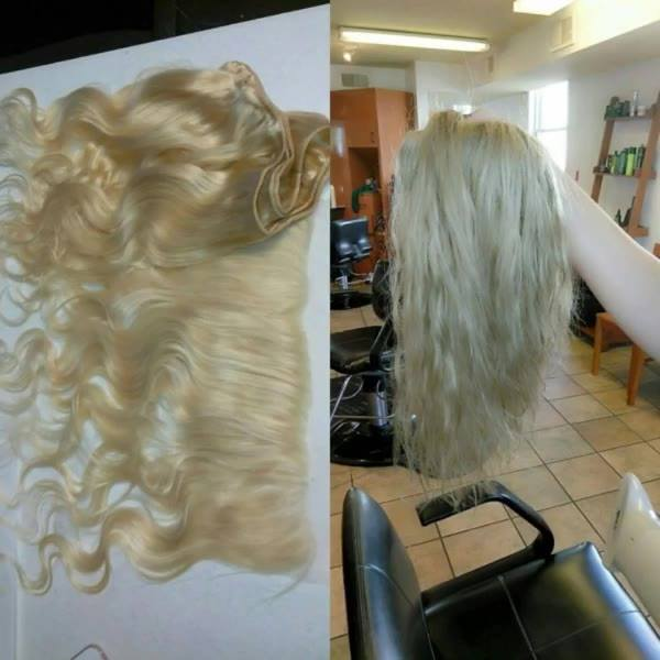 finished product of customized extension coloring done by  our stylist Chynel ! Variations of platinum !! Install of hai...